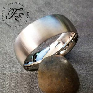 Mens Brushed Steel Wedding Ring or Promise Ring